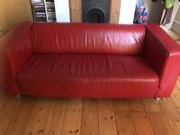 Red faux leather 3 seater IKEA Klippan sofa