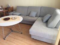 Large sofa bed. Designer, corner, dusty blue colour