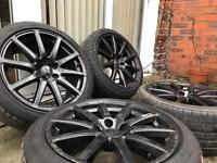 18 INCH ALLOY WHEELS WITH TYRES GENUINE AUDI, VW