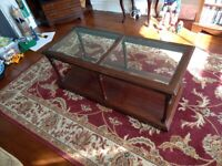 SOLID WOOD Mahogany Colour GLASS Topped COFFEE Living Room Table - Project!