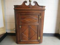 VINTAGE OAK CORNER WALL CABINET WALL CABINET WALL CUPBOARD WITH SHAPED SHELVES FREE DELIVERY