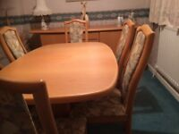 Skovby #15 Ellipse Extendable dining table, sideboard and 6 chairs on solid beech