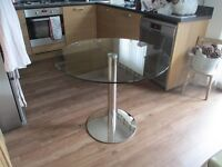 Marks And Spencer Clear Glass Bistro Table, 90 cm Diameter.