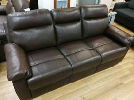 3, 2 and 1 seater brown real leather electric recliner sofas with electric control buttons