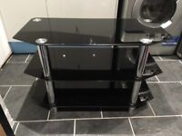 Black and silver TV stand.