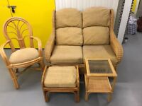 Conservatory Cane Furniture Set - 2 seater sofa, chair, footstool & table