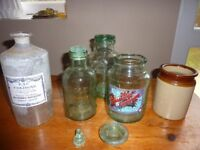 collection vintage jars and stoppers