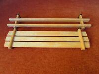 Beech shelf & towel rail with hidden fixings