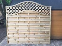 Omega Lattice Top Wooden Fence Panel Garden - 6ft (1.8m)