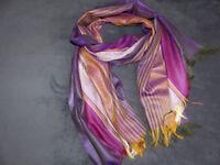 Beautiful scarves of various designs. 190cm long x 62cm wide.