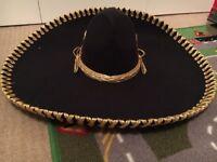 Original Mexican sombrero hat Black and gold