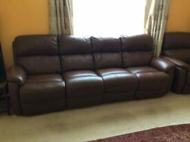 4 seater brown leather power assisted recliner sofa with 2 usb socket