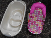 Baby bath, bowl, bath chair, & selection off new born girls clothes
