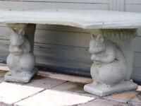 Squirrel Curved Detailed Stone Outdoor Bench Decorative Garden Seat