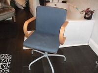 VERY COMFY PINE AND BLUE FABRIC SWIVEL CHAIR. SUITABLE FOR HOME OR OFFICE.