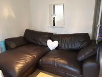 Sofa, leather chocolate brown 7ft long DFS