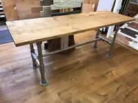 Industrial Scaffold Table/Desk - Solid Wood Top