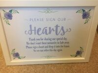 Wedding sign. Sign our hearts