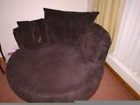 Large Two Seater Sofa & Cuddle/Swivel Chair