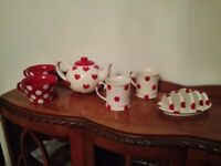 Shabby chic breakfast set teapot cups toast rack polkadot hearts spots