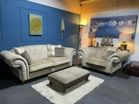 Cream chesterfield suite in velvet 3 seater sofa, cuddle chair and footstool