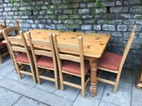 Refectory pine Table and 6 chairs