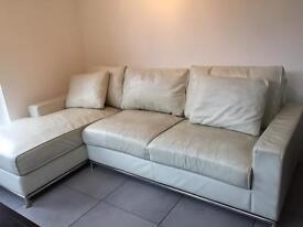 L-shape white real leather sofa