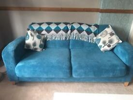 Teal Cord Cuddle chair, sofa and footstool