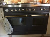 Britannia 100cm dual-fuel black range cooker