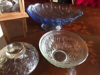 2 glass decorative bowls/ornaments