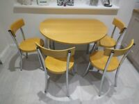 JOHN LEWIS CHAIRS & ROUND FOLDING WOOD & CHROME TABLE