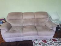 Suede 3 seat reclining sofa.
