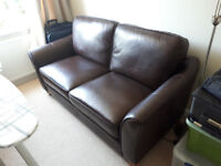 2 seater leather sofa dark brown
