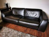Nicoletti Corsica Moca Large 3 Seater Leather Sofa + Chair