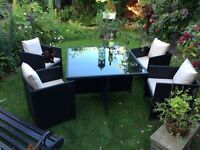 RATTAN CUBE GARDEN TABLE SUITE CAN DELIVER