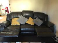 REAL LEATHER three-seater recliner sofa