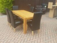Lyon Oak Fixed Dining Table & 6 Tivoli Oak Brown Leather Rollback Chairs