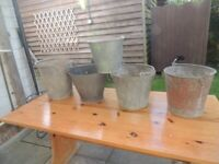 Galvanised buckets 4 in good order 1 rusty bottom