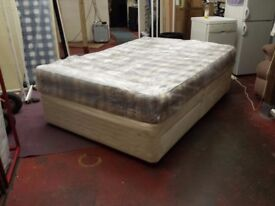4 drawer sprung edge double divan bed base with 9 inch thick clean and tidy orthopaedic mattress