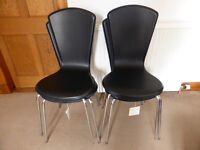 NEW Set of 4 Black Faux Leather Dining Chairs