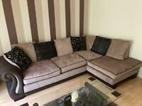 Large corner sofa and matching foot stool