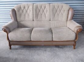 Italian Fabric and Leather 3-1-1 Suite (Sofa)