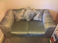 Crushed velvet silver two seater sofa