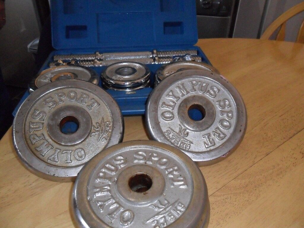 Chrome Dumbell Set Plus 4 Olympus Sport Chrome Weights