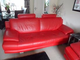 Modern red leather sofa from DFS