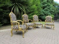 4 x Ornate Egyptian Tiger-Print Chairs (Large)