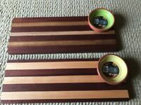 Real wood candle holders, chopping boards , platters