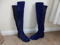 BRAND NEW SIZE 3 OVER THE KNEE BOOTS FAUX SUEDE NAVY /BLACK