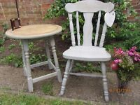 Shabby Chic Solid Vintage Oak Table & solid pine heavy quality chair painted Paris grey