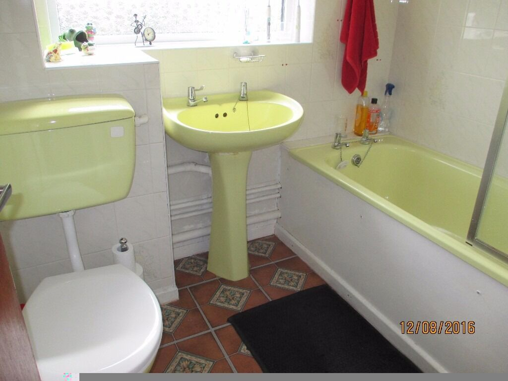 Yellow Bathroom Suite Pressed Steel Bath Very Good Cond Inc Shower Screen